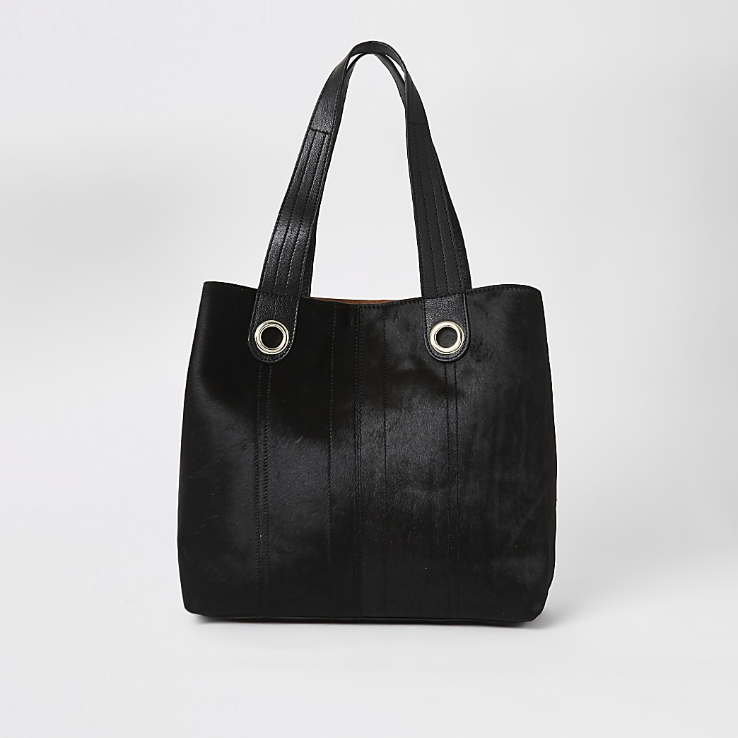 Schwarze Shopper-Beuteltasche aus Leder