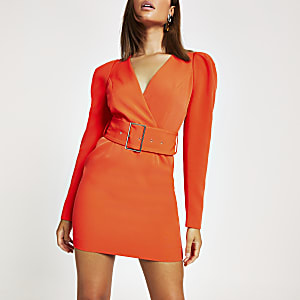Red long sleeve belted mini dress