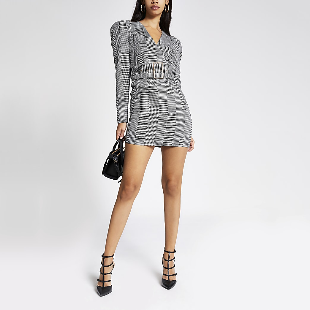 Black check wrap front belted mini dress