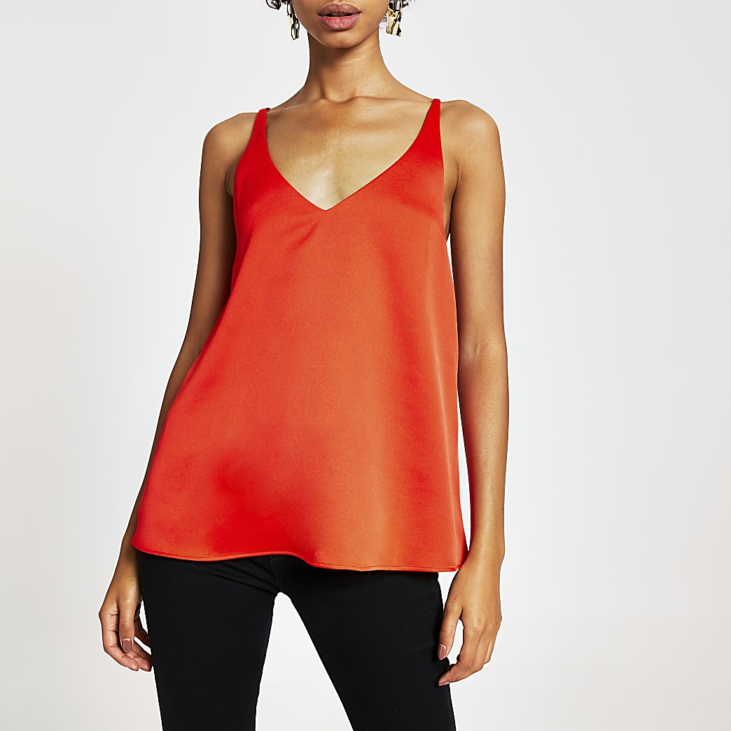 Red cowl cross back cami top