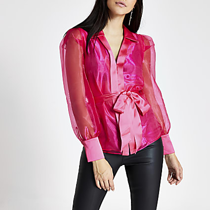 Pink long sleeve tie belted organza top