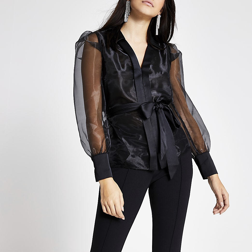 Zwart organza overhemd met strikceintuur