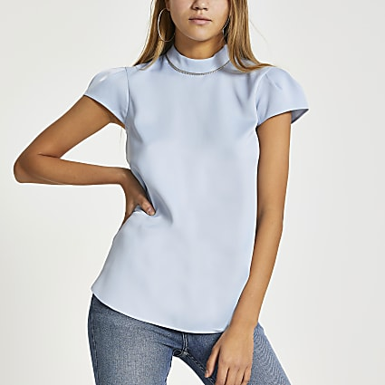 Light blue diamante collar short sleeve top