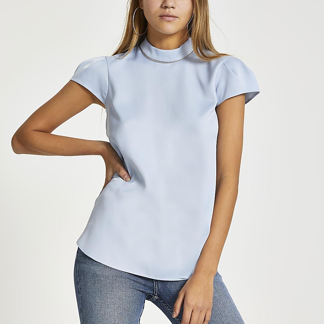 Light blue diamante collar short sleeve top