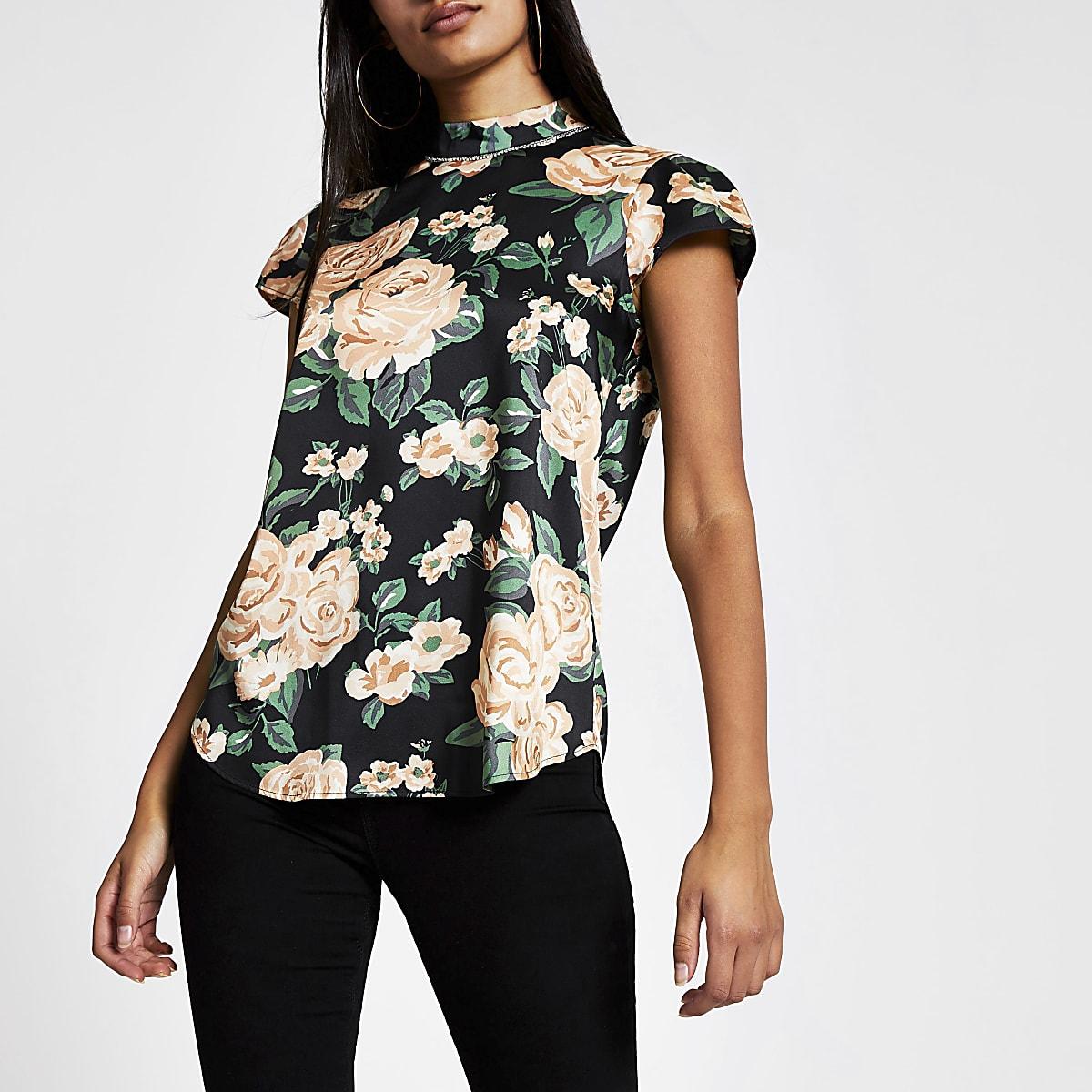 Zwarte top met korte mouwen, bloemenprint en nek met siersteentjes