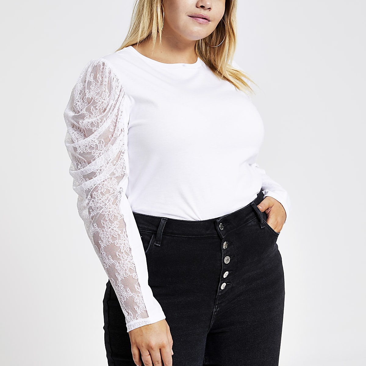 Plus white sheer puff long sleeve T-shirt