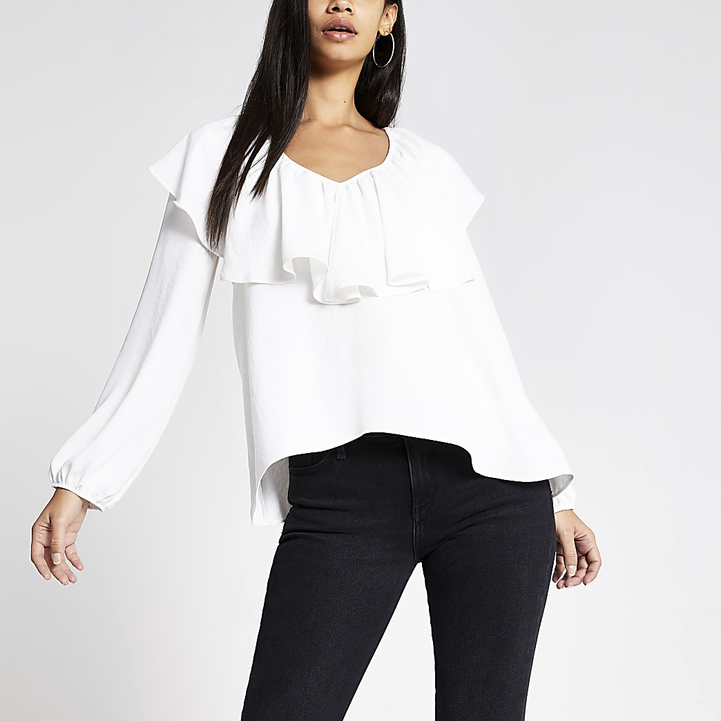 White long sleeve frill V neck top