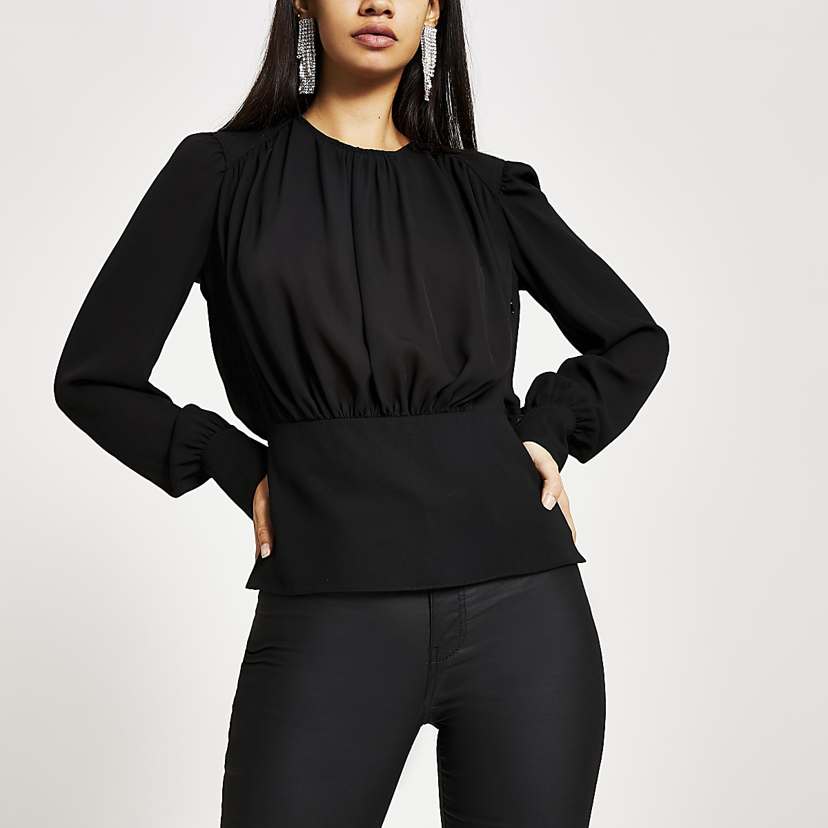 Black ruched trim long sleeve waisted top