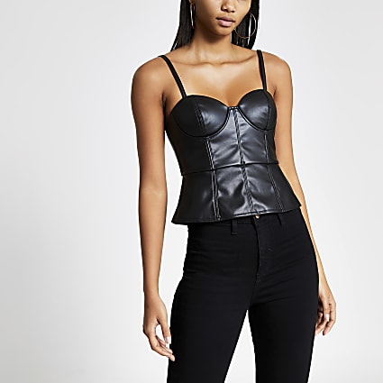 Black faux leather peplum bralet top