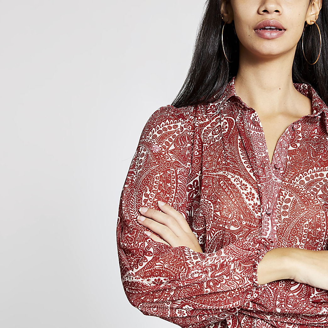 Red paisley long sleeve shirt