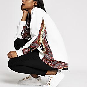 Petite – Bedrucktes, langärmeliges Sweatshirt in Creme