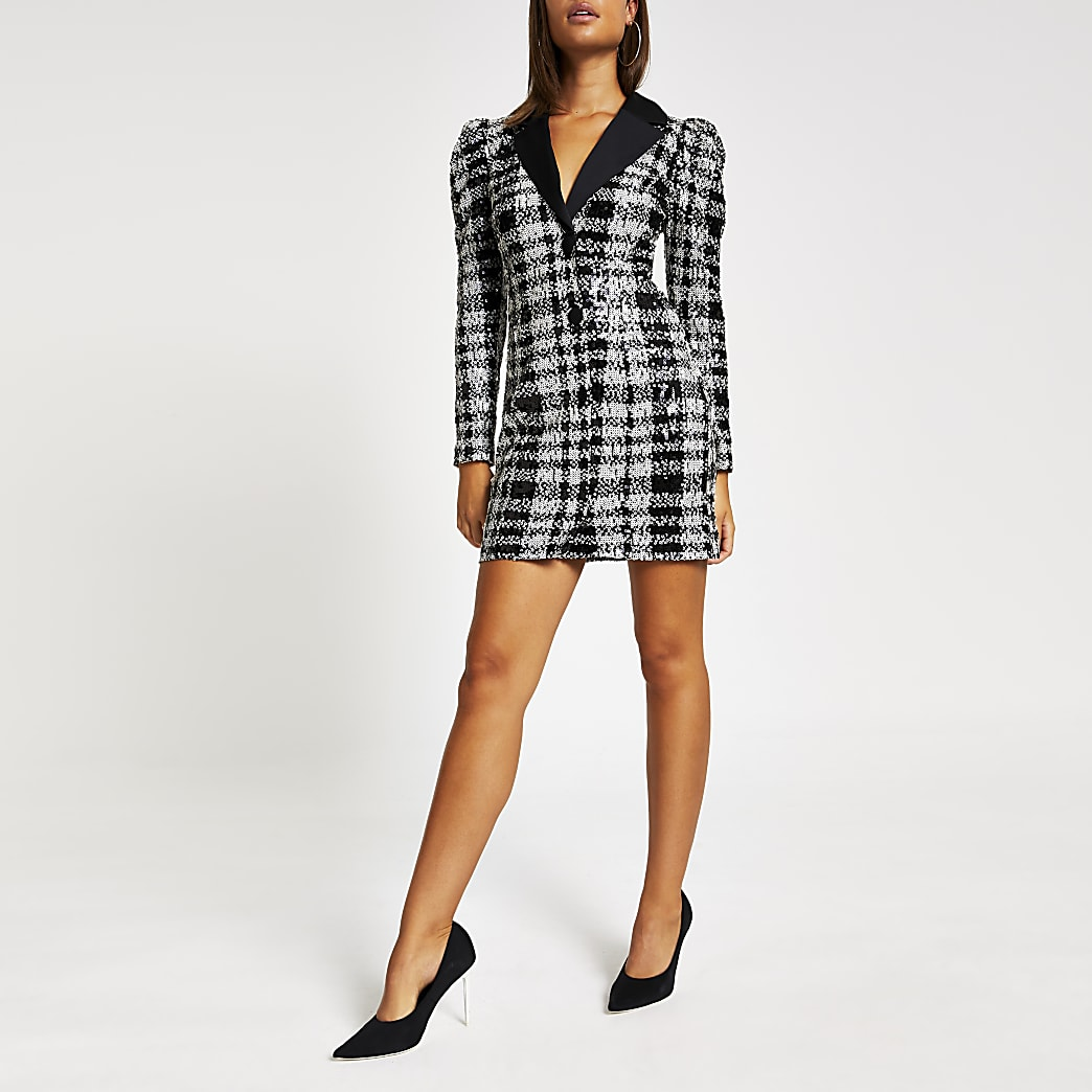 Black check sequin long sleeve tux dress
