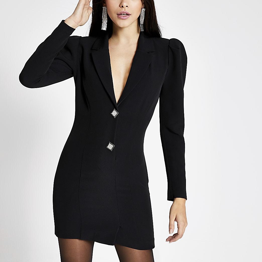 Langärmeliges, schwarzes Smoking-Kleid mit Strassknöpfen