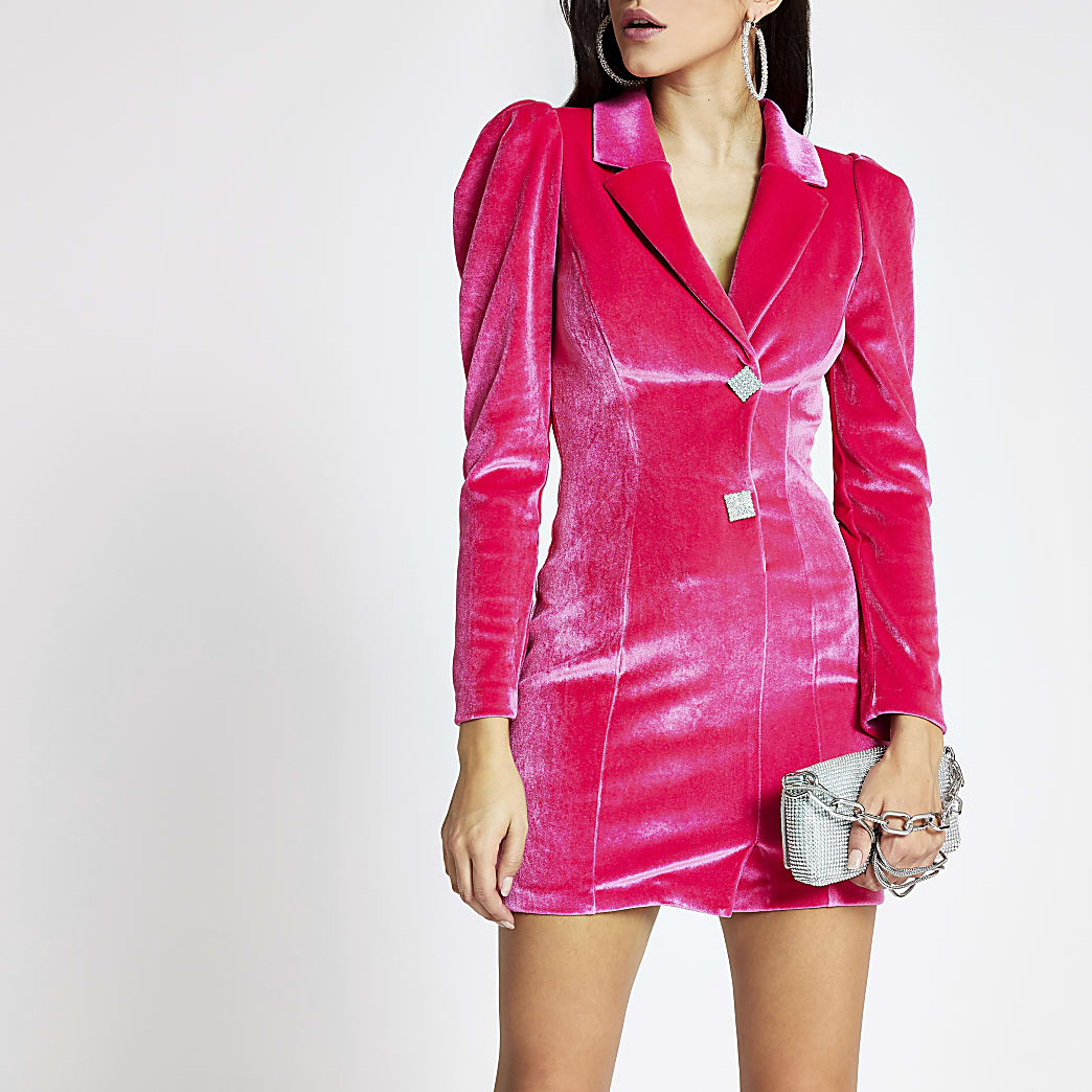 Pink velvet long sleeve tux dress