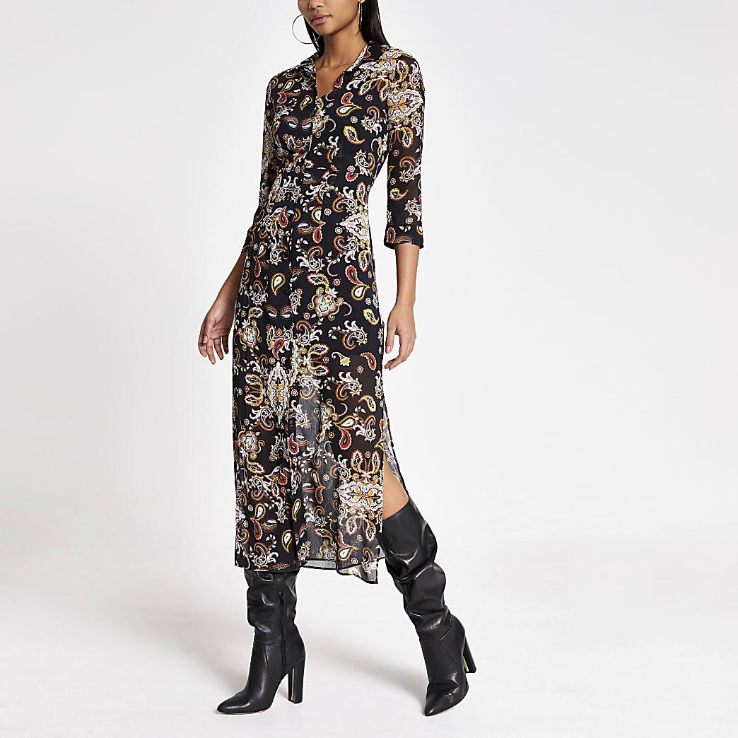 Black print long sleeve sheer shirt dress