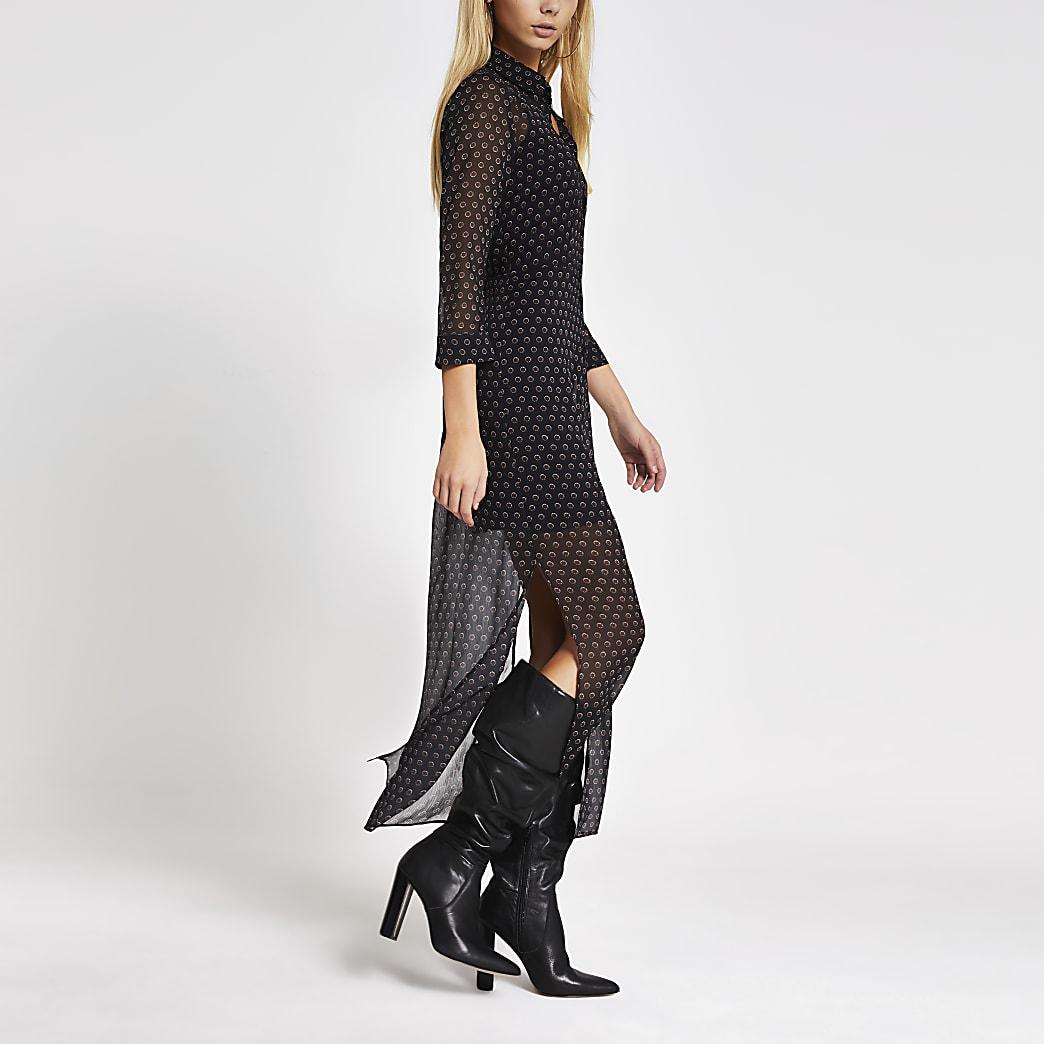 Black printed long sleeve midi shirt dress