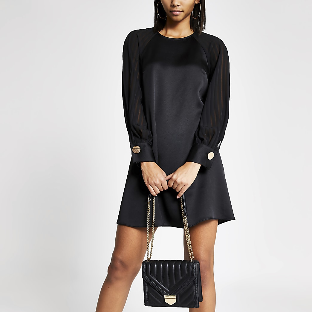 Black sheer striped split sleeve swing dress