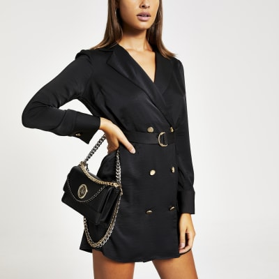 Black long sleeve belted shirt swing dress