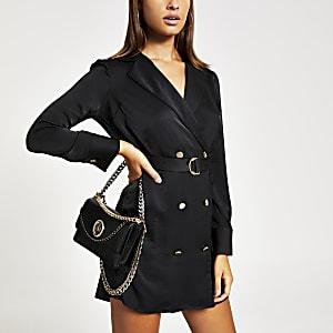Schwarzes, langärmeliges Swing-Kleid mit Gürtel
