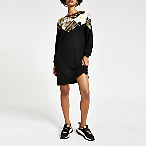 Schwarzes Sweatshirt-Kleid mit RI-Monogramm