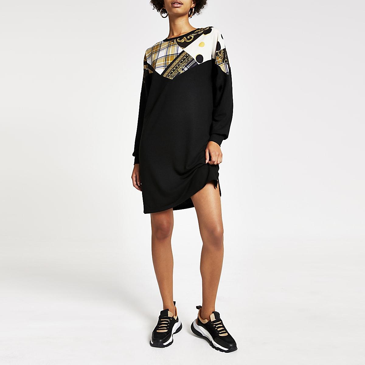 Zwarte sweatshirt-jurk met RI-monogram