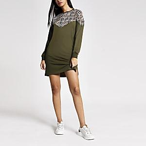 Kaki sweatshirt-jurk met RI-monogram