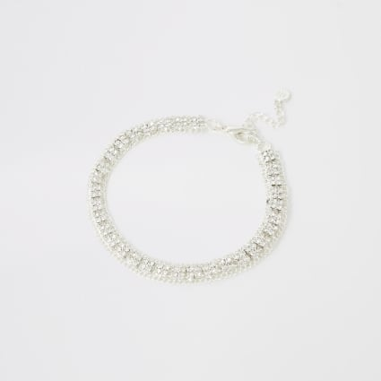 Silver colour diamante embellished anklet
