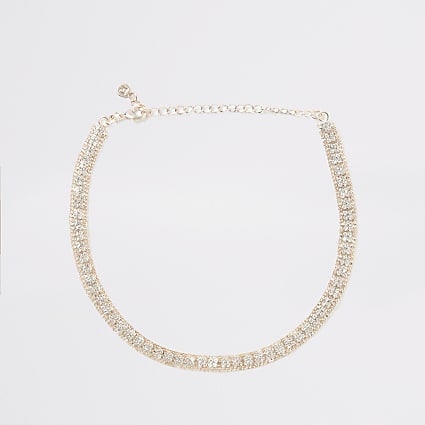 Gold colour square diamante paved choker