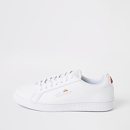 Ellesse white leather lace-up trainers