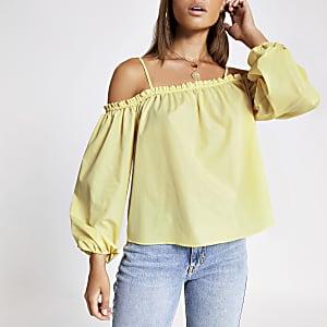 Top Bardot jaune à manches longues bouffantes