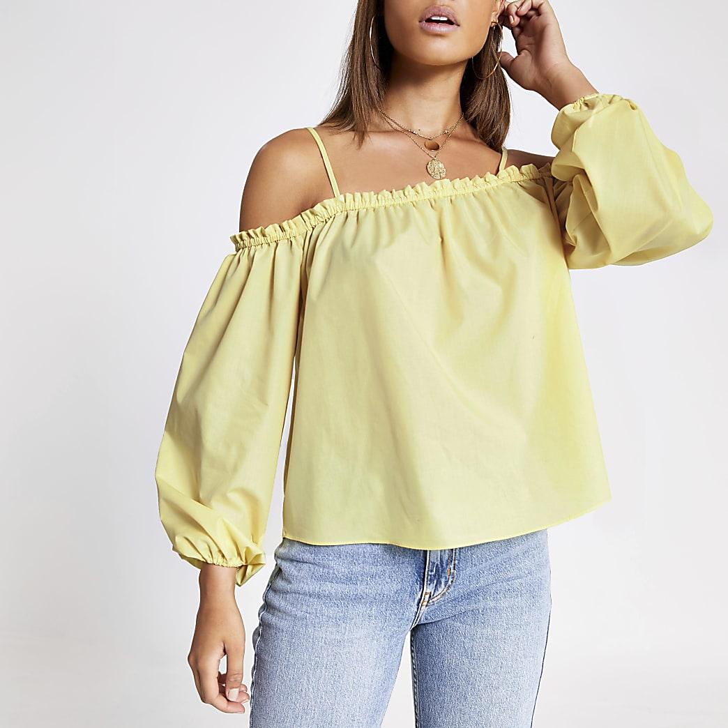 Yellow long puff sleeve bardot top