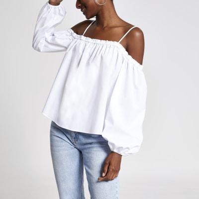 White bardot ruffle sleeve top
