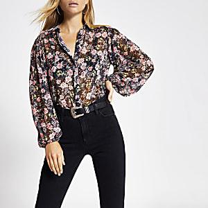 Langärmeliges, hauchdünnes Hemd mit Blumen-Muster in Schwarz