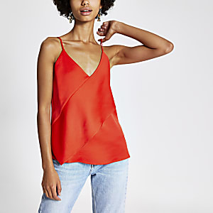Red asymmetric cami top