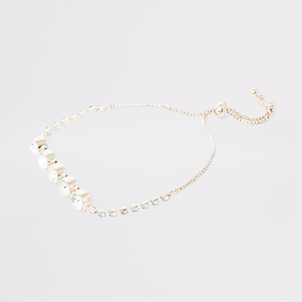 Rose gold colour diamante lariat bracelet