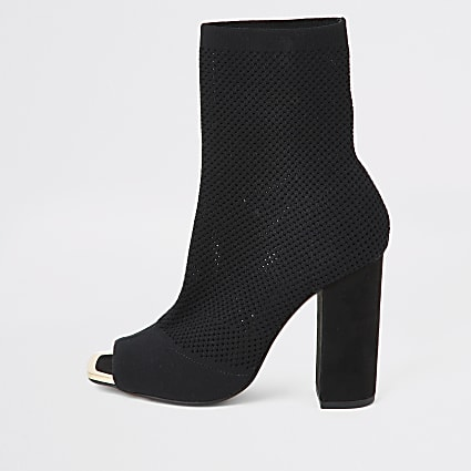 Black knitted peep toe wide fit sock boot