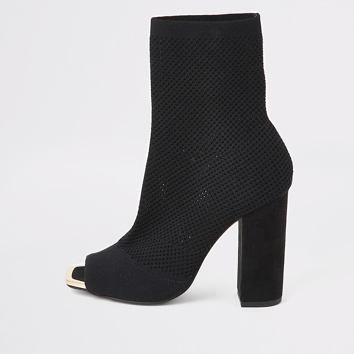 Bottes chaussettes noires en maille peep toe, coupe large