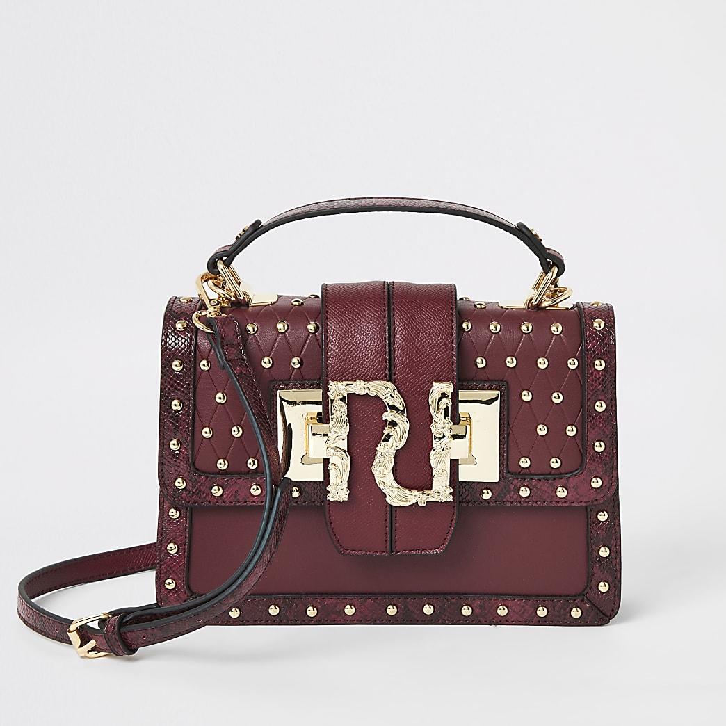 Dark red RI studded satchel bag