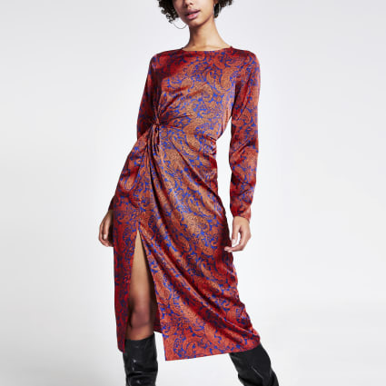 Red paisley print twist front midi dress
