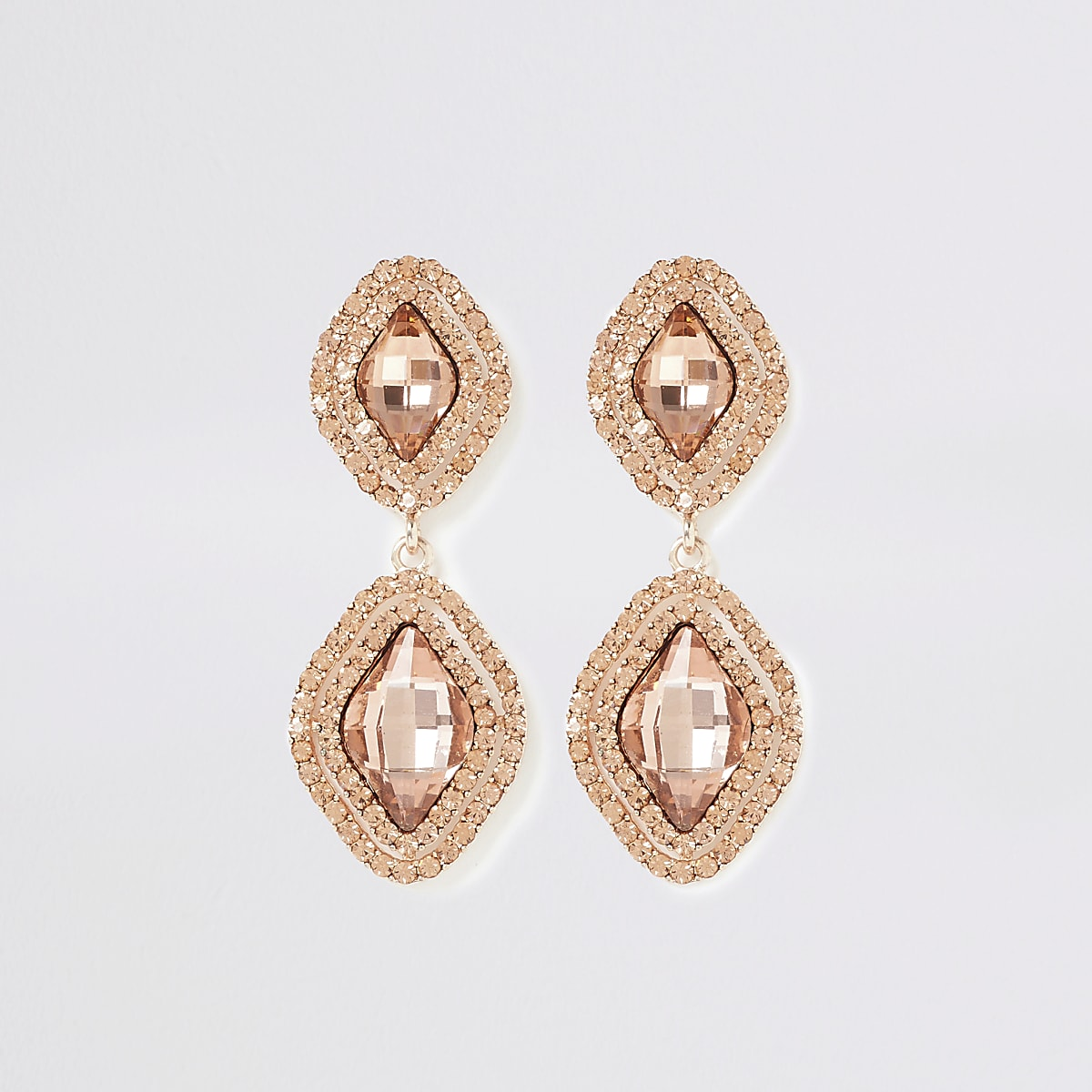 Rose gold colour jewel drop earrings