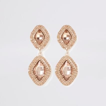 Rose gold colour jewel drop earrings