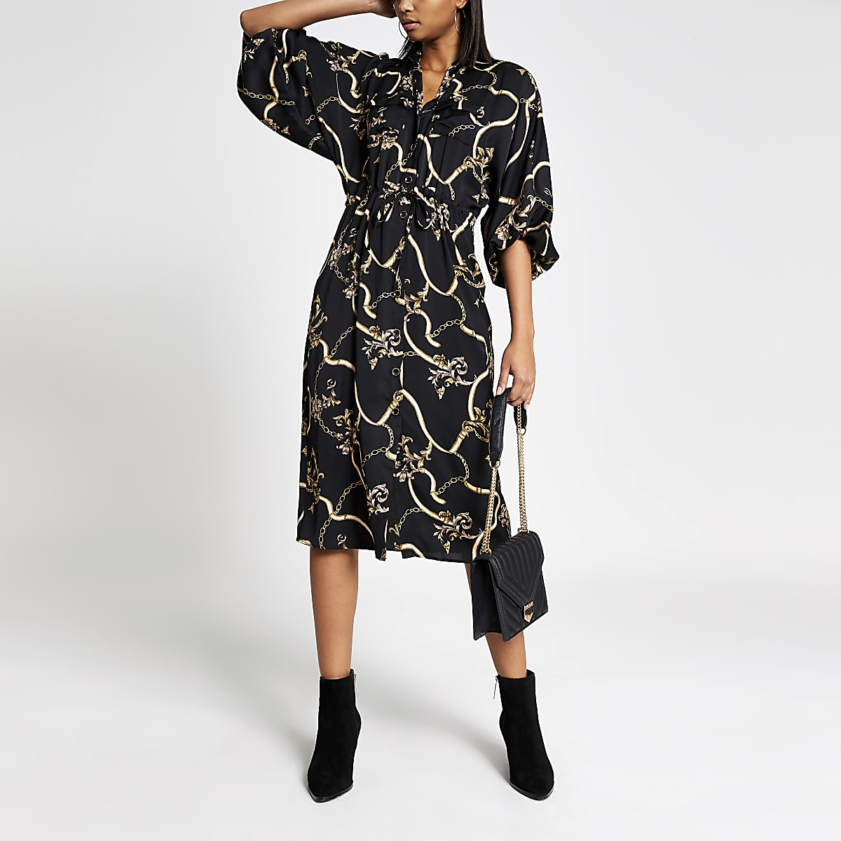 Black print long sleeve shirt dress