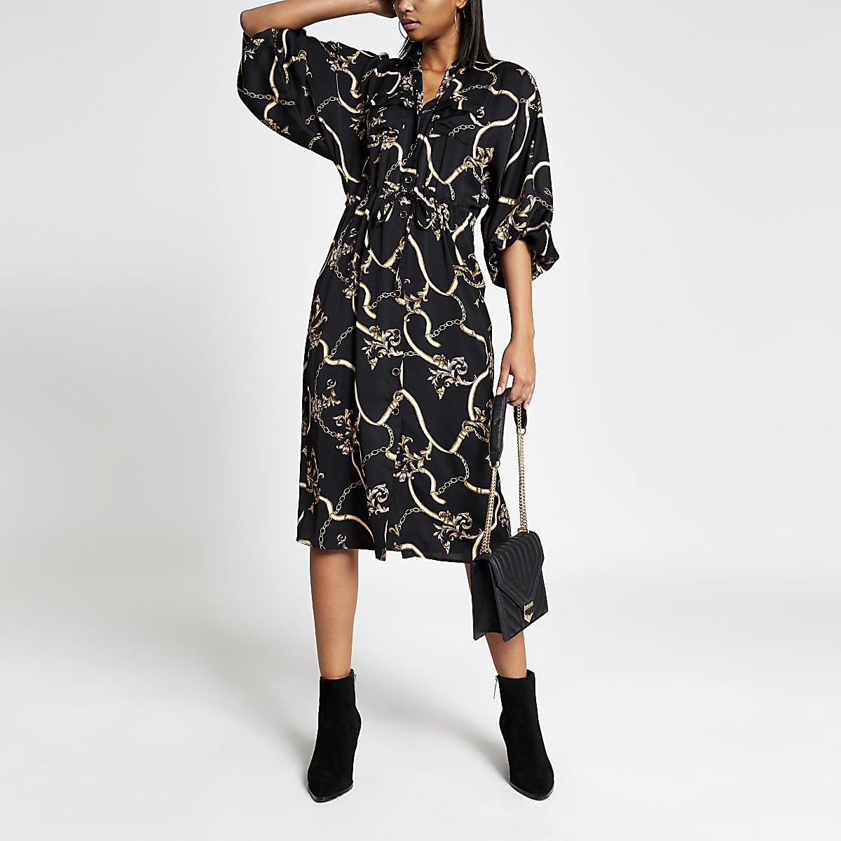Robe chemise à manches longues noire imprimée