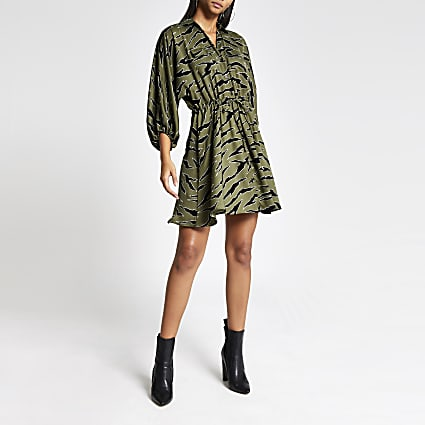 Khaki animal printed tie waist shirt dress