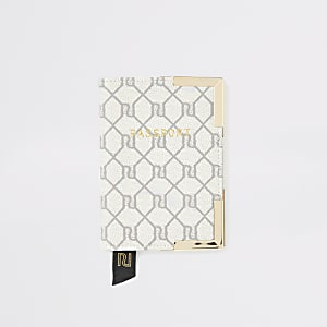 Protège-passeport monogramme gris RI