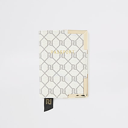 Grey RI monogram passport holder