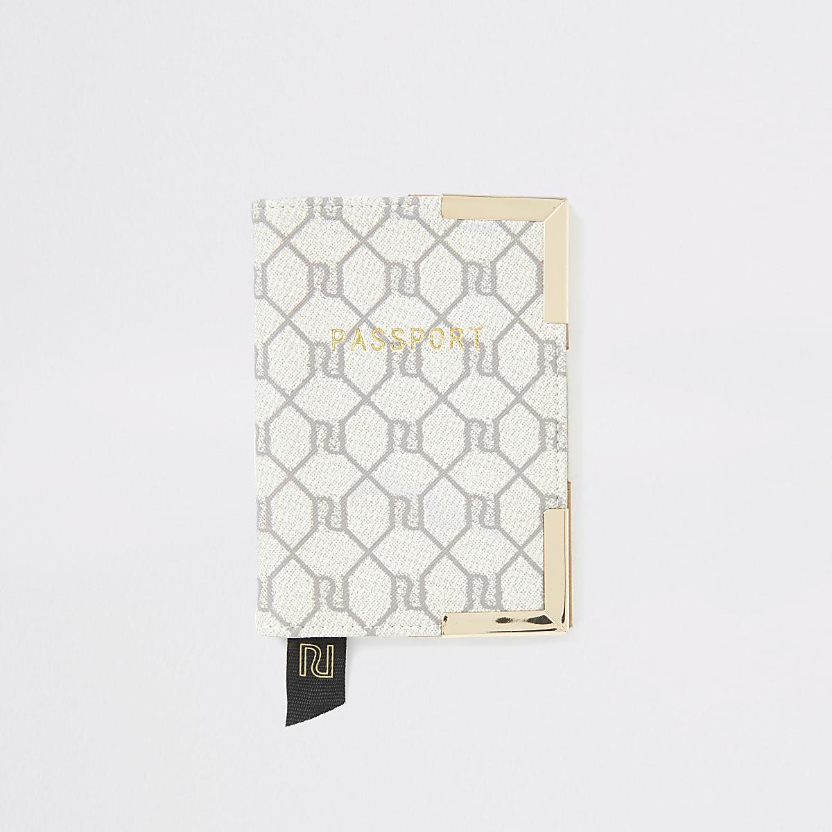 Grey RI monogram passport holder