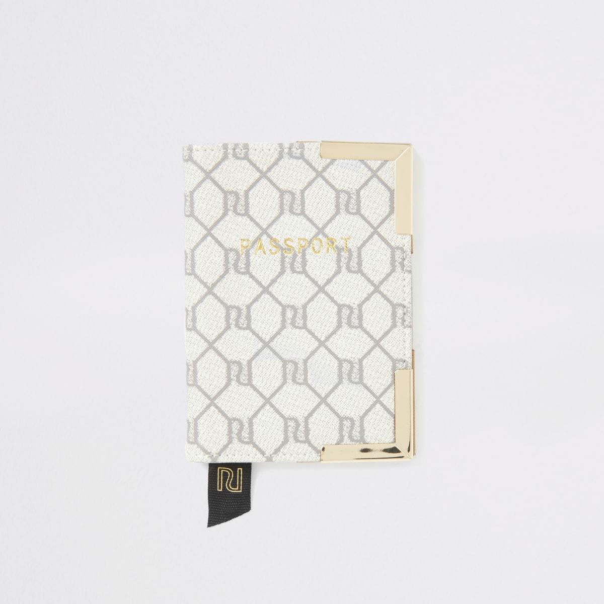 Grijze paspoorthouder met RI monogram