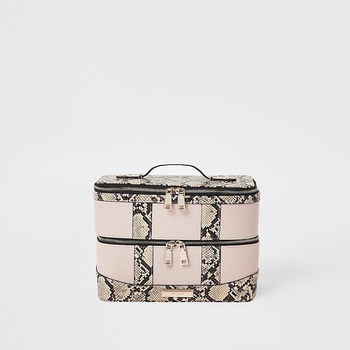 Beige snake print vanity case