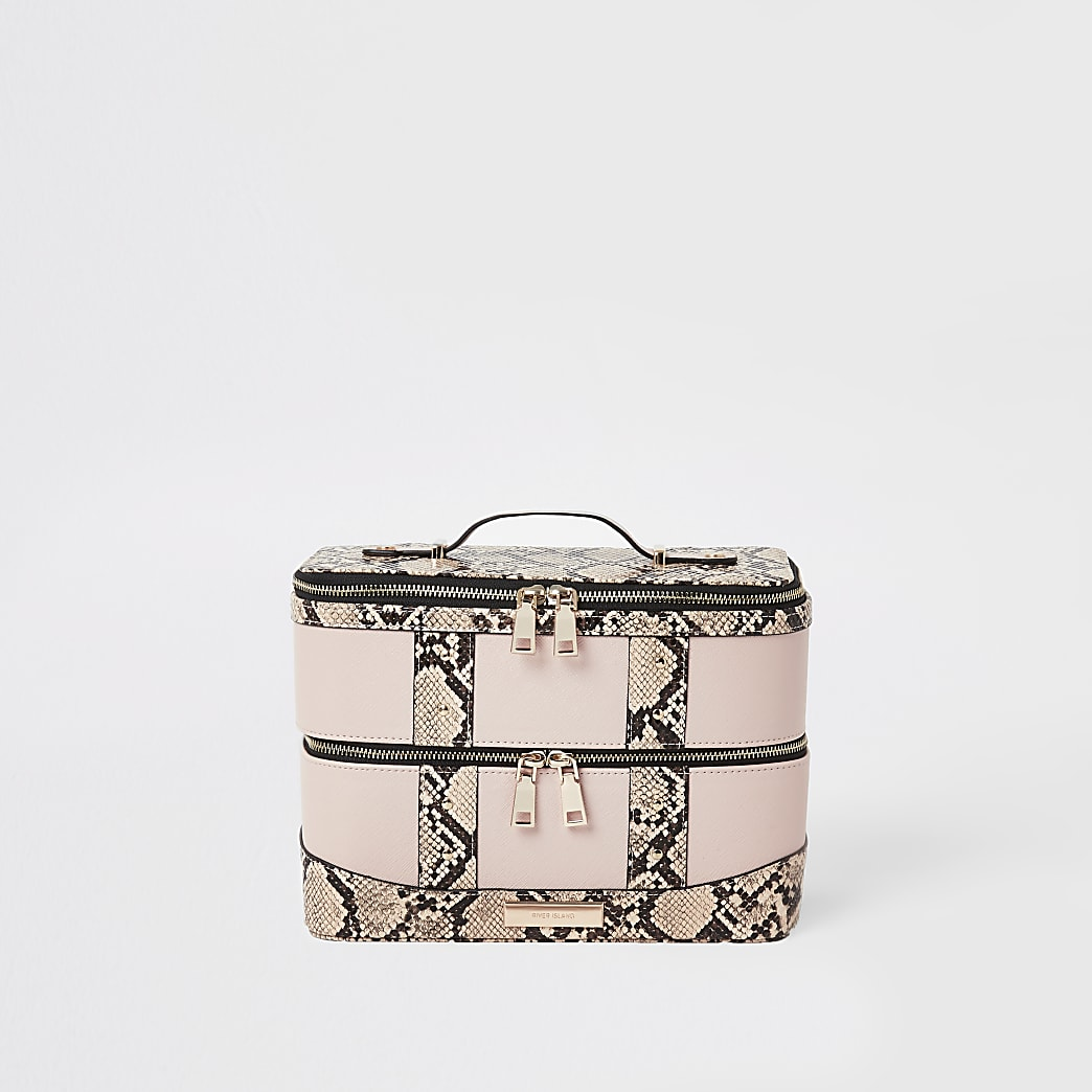 Beige beautycase met slangenprint